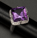 Estate Jewelry:Rings, Amethyst & Diamond Gold Ring. ...