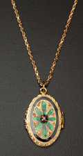 Estate Jewelry:Pendants and Lockets, Enamel & Ruby Gold Pendant & Chain. ...