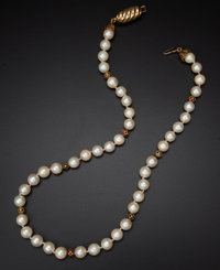Cultured Pearls & Gold Necklace