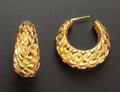 Estate Jewelry:Earrings, 18k Textured French Hoop Earrings. ...