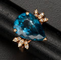 Estate Jewelry:Rings, Estate Blue Topaz & Diamond Gold Ring. ...