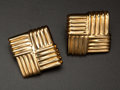 Estate Jewelry:Earrings, Estate Square Gold Earrings. ...