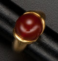 Estate Jewelry:Rings, Fine Carnelian 18k Gold Ring. ...