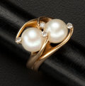 Estate Jewelry:Rings, Cultured Pearls & Diamond Gold Ring. ...
