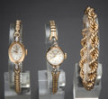 Timepieces:Wristwatch, 14k Gold Rope Bracelet & Two Gold Watches. ... (Total: 3 Items)