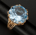 Estate Jewelry:Rings, Large Blue Topaz Gold Ring. ...