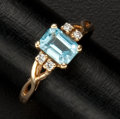 Estate Jewelry:Rings, Square Topaz & Diamond Gold Ring. ...