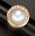 Estate Jewelry:Rings, Terrific Mabe Pearl & Diamond Gold Ring. ...