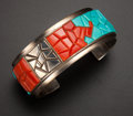 Estate Jewelry:Bracelets, Turquoise & Coral Silver Cuff Bracelet. ...