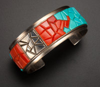 Turquoise & Coral Silver Cuff Bracelet