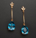 Estate Jewelry:Earrings, Blue Topaz & Diamond Gold Earrings. ...