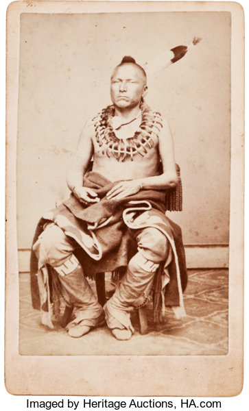 American Indian ArtPhotographs PAWNEE INDIAN CARTE DE VISITE PHOTO BY