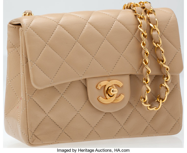 4dcc5a0ba219 Heritage Vintage  Chanel Beige Lambskin Leather Classic Mini