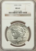 Peace Dollars: , 1935-S $1 MS62 NGC. NGC Census: (370/1981). PCGS Population(541/3188). Mintage: 1,964,000. Numismedia Wsl. Price for probl...