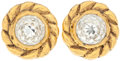 Luxury Accessories:Accessories, Heritage Vintage: Chanel Gold and Crystal Clip-on Earrings. ...