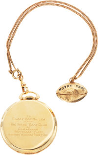 1909 and 1936 Harry Red Miller Notre Dame Football Gold Charm and Pocket Watch