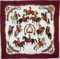 "Luxury Accessories:Accessories, Heritage Vintage: Hermes Maroon, White and Brown ""Reprise,"" byLedoux Kaki Silk Scarf. ..."