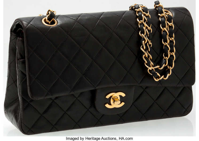 1c621bc6556e ... Luxury Accessories:Bags, Heritage Vintage: Chanel Black Lambskin  Leather Classic Double FlapBag with ...