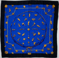"Luxury Accessories:Accessories, Heritage Vintage: Hermes Blue, Black, and Gold ""Clips,"" by VladimirRybaltchenko Silk Scarf. ..."