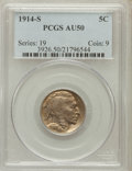 Buffalo Nickels: , 1914-S 5C AU50 PCGS. PCGS Population (40/1469). NGC Census:(12/1213). Mintage: 3,470,000. Numismedia Wsl. Price for proble...