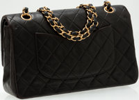 Luxury Accessories Bags Heritage Vintage Chanel Black Lambskin Leather Classic Double Flapbag With