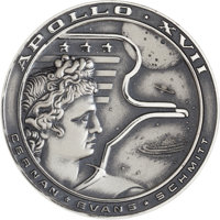 Apollo 17 Flown Silver Robbins Medallion Directly from the Personal Collection of Astronaut William Pogue, Serial Number...