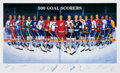 Hockey Cards:Lots, Mid-1990's 500 Goal Scorers Multi Signed Ron Lewis Lithograph. ...