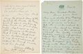 Boxing Collectibles:Autographs, 1936 William A. Brady Handwritten Signed Letter - Lot of 2....