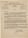 Boxing Collectibles:Autographs, 1934 Philadelphia Jack O'Brien Signed Letter. ...