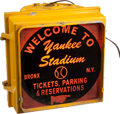 Baseball Collectibles:Others, Circa 1980 Yankee Stadium Electric Street Sign....