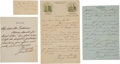 Boxing Collectibles:Autographs, James Corbett Signed Letter Lot of 3 and Signed Small Parchment....