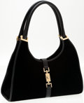 Luxury Accessories:Bags, Heritage Vintage: Gucci Black Suede Bardot Bag with Gold Hardwareand Leather Trim. ...