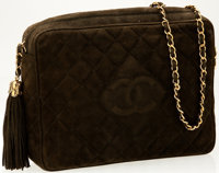 Chanel Moss Quilted Suede Oversize Camera Bag with Gold Hardware