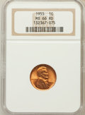 Lincoln Cents: , 1955 1C MS66 Red NGC. NGC Census: (1490/104). PCGS Population(648/14). Mintage: 330,958,208. Numismedia Wsl. Price for pro...