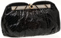 Luxury Accessories:Bags, Heritage Vintage: Judith Leiber Black Snakeskin Clutch withShoulder Chain. ...