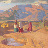 ERNEST LEONARD BLUMENSCHEIN (American, 1874-1960) Taos Valley Reflections Oil on canvas 26 x 26 i