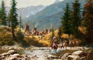 Featured item image of HOWARD A. TERPNING (American, b. 1927)  Crow Country, 1978  Oil on canvas  30 x 46 inches (76.2 x 116.8 cm)  Signed and... (Total: 2 Items)