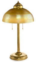 Glass, TIFFANY STUDIOS FAVRILE GLASS SHADE WITH BRASS LAMP BASE . Gold Favrile glass domed shade with associated two-light brass la...