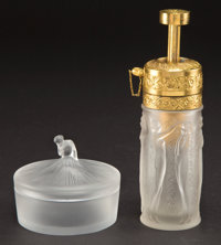 LALIQUE CLEAR AND FROSTED GLASS DEGAS BOX AND FIGURINES ET GUIRLANDES