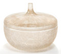 Art Glass:Lalique, R. LALIQUE CLEAR AND FROSTED GLASS EGLANTINE BOX WITH SEPIAPATINA . Circa 1926. Molded: R. LALIQUE . Engraved: ... (Total: 2Items)
