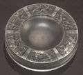 Glass, R. LALIQUE CLEAR AND FROSTED GLASS ARCHERS ASHTRAY WITH GREY PATINA . Circa 1922. Molded: R. LALIQUE . Engraved:...