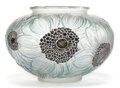 Art Glass:Lalique, R. LALIQUE GLASS AND ENAMEL DAHLIAS VASE WITH BLUE PATINA .Circa 1923. Molded: R. LALIQUE. 5 inches high (12.7 ...