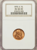 Lincoln Cents: , 1938-S 1C MS66 Red NGC. NGC Census: (2509/1509). PCGS Population(2559/227). Mintage: 15,180,000. Numismedia Wsl. Price for...