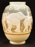 Glass, GALLE OVERLAY GLASS ELEPHANTS VASE . Pale yellow glass with cream cameo overlay etched and wheel-carved in a sty...