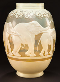 GALLE OVERLAY GLASS ELEPHANTS VASE Pale yellow glass with cream cameo overlay et