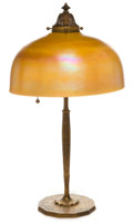 Art Glass:Tiffany , TIFFANY STUDIOS BRONZE TABLE LAMP WITH FAVRILE GLASS SHADE . Bronzetwo light table lamp base with gold Favrile glass shade,... (Total:2 Items)