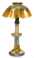 Art Glass:Tiffany , TIFFANY STUDIOS FAVRILE GLASS CANDLESTICK LAMP WITH GORHAM SILVERPLATE MOUNT . Gold Favrile glass twisted base and ruffled ...(Total: 3 Items)