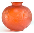 Art Glass:Lalique, R. LALIQUE RED GLASS POISSONS VASE . Circa 1921. Engraved:R. Lalique, France, No 925. 9-1/4 inches high (23...