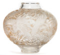 Art Glass:Lalique, R. LALIQUE CLEAR AND FROSTED GLASS ARAS VASE WITH SEPIAPATINA . Circa 1924. Molded: R. LALIQUE . 9 inches high ...