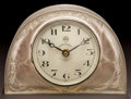 Art Glass:Lalique, R. LALIQUE CLEAR AND FROSTED GLASS MOINEAUX CLOCK . Circa1924. Molded: R. LALIQUE. 6-1/4 inches high (15.9 cm)...